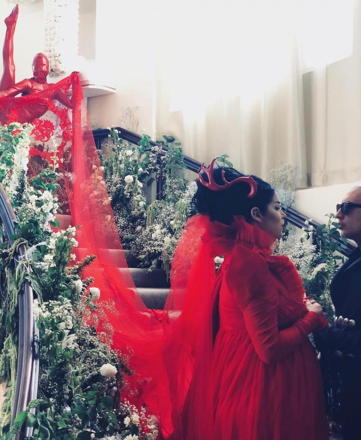 Kat Von D re-marries Leafar Seyer in bright red wedding dress